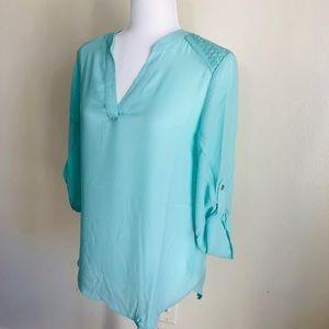NWT Zac & Rachel aqua blue blouse shirt top